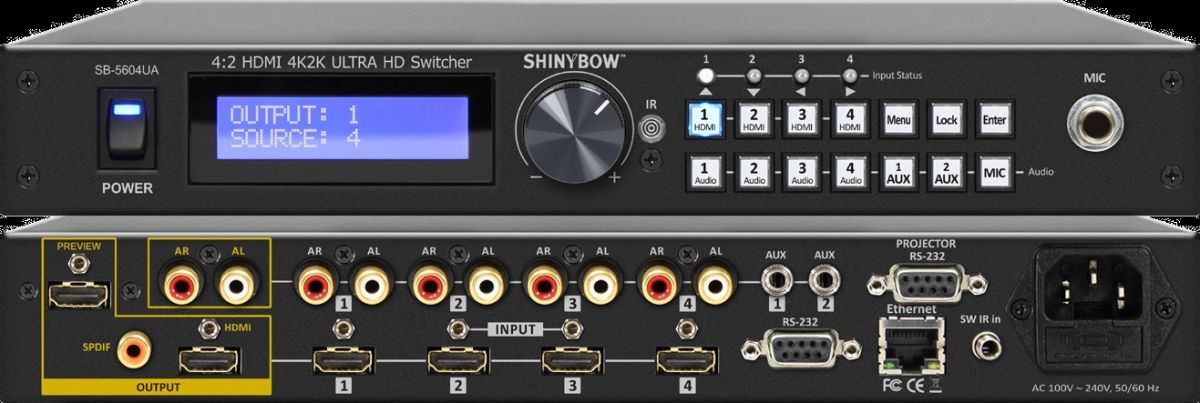 4x2 HDMI 4K2K Routing Switcher with Microphone / Auxiliary Audio